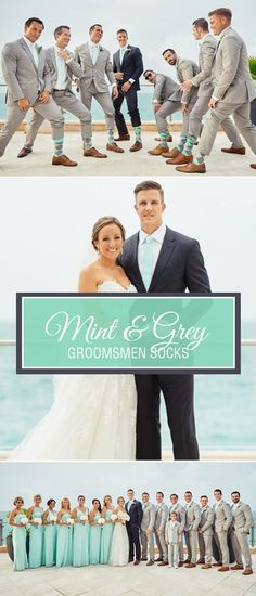 Mint green is one of the trendiest colors for weddings. As a bright and light shade of green, mint pairs well with navy, grey and even black tuxedos or suits. Give your groomsmen the gift of bold, colorful socks with our mint and heathered grey argyle soc Wedding Mint Green, Summer Wedding, Dream Wedding, Trendy Wedding, Wedding Stage, Groomsmen Socks, Groom And Groomsmen, Groomsmen Attire Grey, Wedding Groom