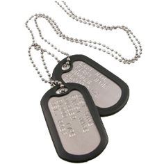 Silver NEW ARMY STYLE DOG TAG SET with Rubber Silencers US Tags Fancy Dress