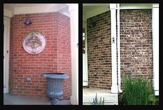 Lime wash brick fireplace bing images decorating pinterest brick fireplaces image for Staining brick exterior pictures