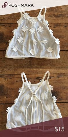 Flower Bralette Sheer flower appliqué halter bralette! Pyramid style straps in back, color is a cream/off white. Size Small, never worn, new without tags. Forever 21 Intimates & Sleepwear Bras