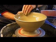 Throwing / Making a larger Pottery Salad Bowl on the wheel - YouTube