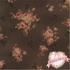 "Antique Flower 30451-80 by Lecien: This beautiful fabric is from the Antique Flower collection by Lecien.  100% cotton, 44""/45"" wide.  This fabric features tossed roses on a dark brown background."