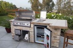 outdoor bbq area grill station / outdoor bbq area - outdoor bbq area on a budget - outdoor bbq area diy - outdoor bbq area australia - outdoor bbq area grill station - outdoor bbq area ideas - outdoor bbq area modern - outdoor bbq area rustic Outdoor Grill Island, Outdoor Kitchen Patio, Outdoor Kitchen Countertops, Bbq Island, Bbq Kitchen, Outdoor Kitchen Design, Outdoor Cooking, Kitchen Appliances, Outdoor Living