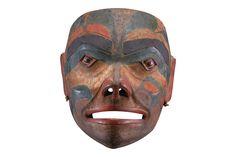 ANCESTOR MASK - Heiltsuk, Central Coast British Columbia, ca. 1850–70, wood, pigments, height: 10 ¼˝