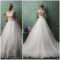 hermoso vestido de novia corte princesa de encaje elegante