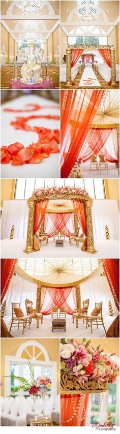 Get Inspired with this romantic mandap decor!  Florida Indian Wedding Decor by Suhaag Gardens and captured by Kimberly Photography