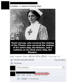 This guy has a good point. Why would you continue sail on a ship deemed the sister ship of the Titanic? That doesn't even sound like a good idea.