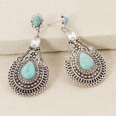 Teardrop Stone & Diamante Boho Earring $24.95 https://japrijewellery.com.au/collections/earrings/products/teardrop-stone-diamante-boho-earring