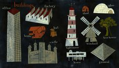 Jeff Fisher, Hand painting spot illustration of different buildings such as a castle, shed, igloo. Jeff Fisher, Lighthouse, Illustrators, Shed, Castle, Hand Painted, Graphic Design, Holiday Decor, Prompts
