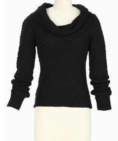 Loving this Black Pointelle Cowl Neck Sweater on #zulily! #zulilyfinds