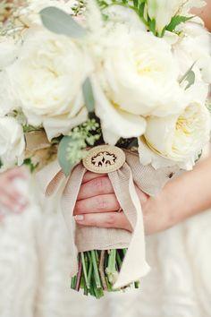 White Bridal Bouquet With Burlap Wrap