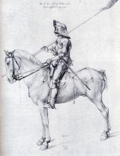 Albrecht Dürer ~ Man in Armour on Horseback, 1498