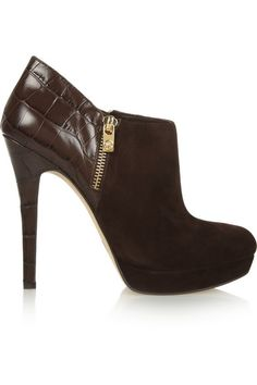 MICHAEL MICHAEL KORS York croc-effect leather and suede ankle boots €225