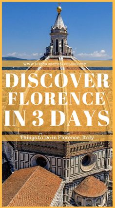 3 Days in Florence – What to do in Florence. Do you have 3 days in Florence and wondering what to see? Start your day in Piazza della Signoria. - the museum of Palazzo Vecchio * making sure to climb the Arnolfo tower for one of the most beautiful views of the city. - the church of Orsanmichele * (free) Continue along Via Calzaiuoli and arrive in Piazza del Duomo. Click to read more #Florence #Guide #Italy