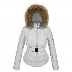 Poivre Blanc Silver Womens Belted Ski Jacket with Faux Fur Trim