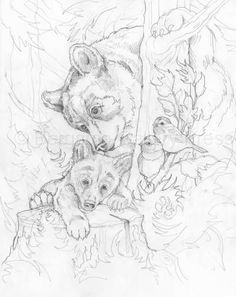 Bergsma gallery press paintings originals original sketches 2013 you lift me up original sketch Animal Sketches, Animal Drawings, Art Drawings, Wood Burning Patterns, Wood Burning Art, Animal Coloring Pages, Coloring Book Pages, Bear Drawing, Colorful Pictures