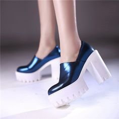 platform electric blue and white shoes