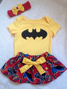 Super Hero Batman batgirl Wonder women outfit baby girl by MM4CC, $29.50