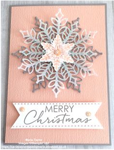 Beautiful Snowflakes using Stampin Up! Christmas Cards 2018, Christmas Card Crafts, Homemade Christmas Cards, Xmas Cards, Christmas Humor, Handmade Christmas, Homemade Cards, Holiday Cards, Stampinup Christmas Cards
