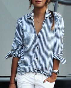 Stripes Print Casual Shirt Collar Long Sleeve Blouse For Women