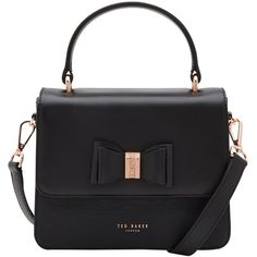 Ted Baker Calila Leather Across Body Bow Bag , Black ($185) ❤ liked on Polyvore featuring bags, handbags, shoulder bags, black, man bag, shoulder strap bags, handbags shoulder bags, leather crossbody and leather handbags