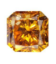 0.73 Carat Fancy Deep Yellow Orange Radiant Diamond