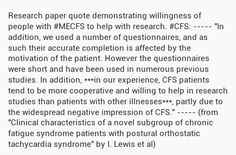 Research paper quote demonstrating willingness of people with #MECFS to help with research.