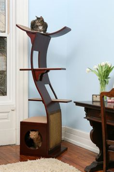 Another cool cat tree that looks like a piece of modern furniture. Hm. I might get this one too.
