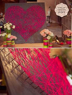 Such a pretty idea - a heart made from string and nails