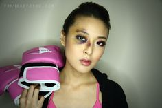 Boxer Girl with Bruised Eye | Halloween Tutorial frmheadtotoe.com
