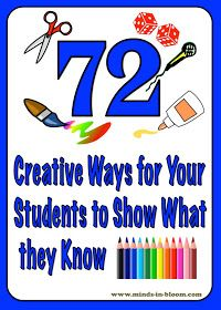 Creative Ways for Students to Show What They Know Extension Menu! Minds in Bloom: 72 Creative Ways for Students to Show What They KnowExtension Menu! Minds in Bloom: 72 Creative Ways for Students to Show What They Know Future Classroom, School Classroom, Classroom Activities, French Classroom, Classroom Projects, Stem Activities, Classroom Ideas, Assessment For Learning, Formative Assessment