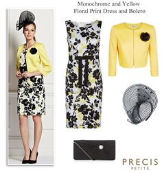Precis Petite black and yellow printed shift dress and matching corsage bolero. Complete Petite Mother of the Bride Mother of the Groom and Wedding guest outfits