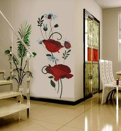 2014 New Vinyl PVC Beautiful Mural Red Blossom Spirally-wound Vine Leaves Flower Wall Stickers Home Decor(China (Mainland)) Creative Wall Painting, Wall Painting Decor, 3d Wall Art, Wall Murals, Wall Decor, Home Room Design, Living Room Designs, Living Room Decor, Wall Art Designs