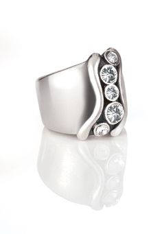 A favourite in RSA, CANADA, UK & AUS - Bold designer stirling silver ring with handset cubic zirconias