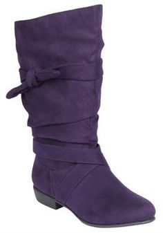 Wide Width Heather wide calf scrunch boot by Comfortview® | Wide Calf Boots from Woman Within