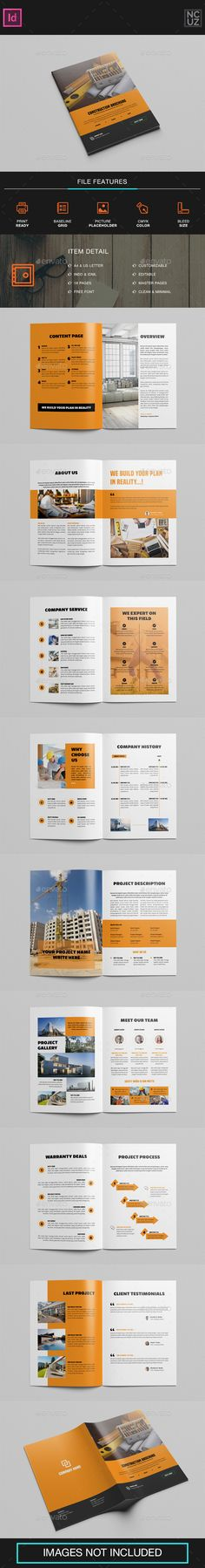 Brochure Construction Company — InDesign INDD #building #construction • Download ➝ https://graphicriver.net/item/brochure-construction-company/19521929?ref=pxcr