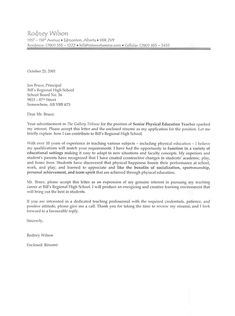 Phys Ed Teacher Cover Letter Sample