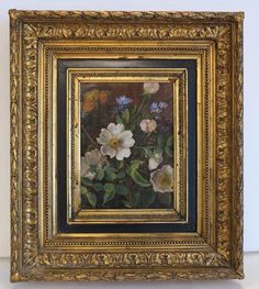 Antique painting, oil on canvas, signed and dated ca. 1820 from chateau on Ruby Lane Antique Paint, Canvas Signs, Ruby Lane, Still Life, Oil On Canvas, Butterfly, Wall Art, Antiques, Frame