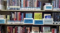 Box Project helps patrons find series fast. Books grouped together in boxes at Rawlins Library, Pierre, SD #SDSLCornerstone