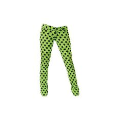 Jist Low Rise Lime Green Star Skinny Jeans ($47) ❤ liked on Polyvore
