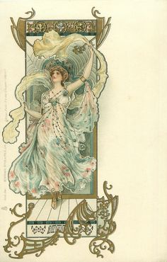 Art Nouveau Postcard, art by Eva Daniell, published by Raphael Tuck 1904 woman wearing blue/green, left hand above her head, she looks left & up