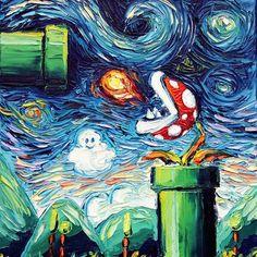 Well this is just awesome!!! I would hang this up in my house in a heartbeat!  What is your favorite Mario game?! #nintendo #mario #mariobros #peach #bowser #supermario #supermariobros #plumber #luigi #marioandluigi #itsmemario #yoshi #vangogh #starrynignt #art #artist #painting #videogame #shigerumiyamoto #princesspeach #toad #mushroomkingdom #koopatroopas #koopa #1up #firepiranhaplant #instaart