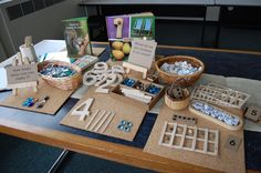 Reggio-inspired mathematics: number kit Here's a great example of a number station designed for math play. Numbers Kindergarten, Math Numbers, Preschool Math, Teaching Math, Kindergarten Classroom, Maths Eyfs, Numeracy Activities, Literacy And Numeracy, Reggio Inspired Classrooms