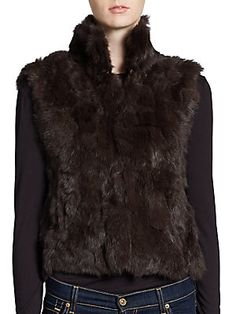 Cropped Dyed Rabbit Fur Vest