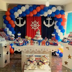Anchor Baby Showers, Mickey Baby Showers, Baby Shower Parties, Baby Shower Themes, Boys First Birthday Cake, Boys 1st Birthday Party Ideas, First Birthday Decorations, Nautical Baby Shower Decorations, Nautical Party