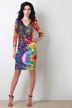 Tie Dye Blotch Bodycon Dress