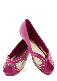 Bright-Hand Woman Flat - Pink, Woven, Flat, Peep Toe, Faux Leather, Gold, Solid, Casual, Daytime Party, Summer