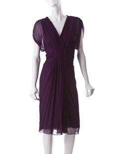 purple silk dress w/ gathering & pleated details