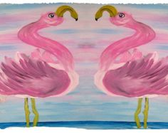 Sassy flamingos Fleece Throw Blanket from my original art