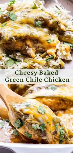 Cheesy Baked Green Chile Chicken is a quick and easy Mexican inspired dinner! It all comes together in one dish and is perfect for busy nights! #chicken #bakedchicken #greenchiles #chickendinner #chickenrecipes #easyrecipes #lowcarb #healthydinner #onepan Easy Dinner Recipes, Good Healthy Recipes, Spicy Recipes, Easy Meals, Delicious Recipes, Easy Recipes, Yum Yum Chicken, Baked Chicken, Runners Food